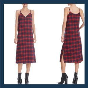 BNWT Ella Plaid Slip Dress in Red